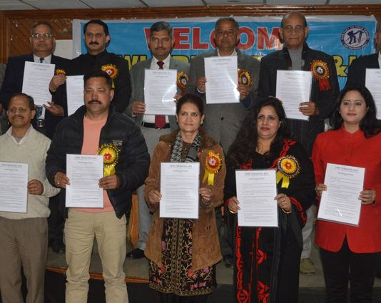 Dignitaries along with office bearers and officials of Tawi Trekkers releasing Calendar of Activites.