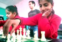 Players in action during Rajouri District Chess Championship on Monday.