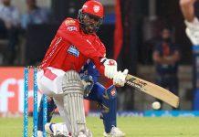 Chris Gayle of Kings XI Punjab executing a shot during his knock of 79 runs against Rajasthan Royals at Jaipur on Monday.