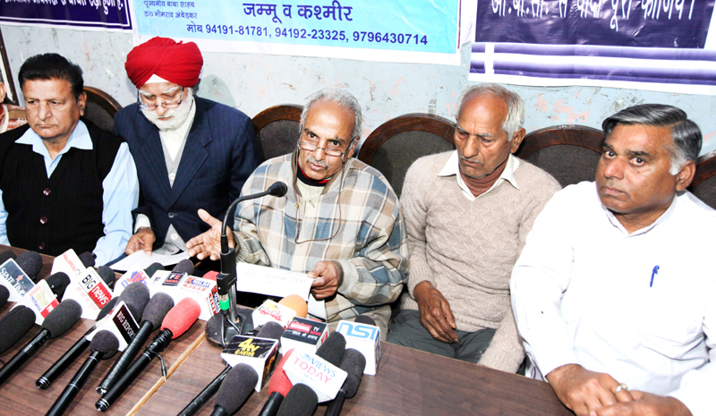 Senior members of OBC Mahasabha addressing joint press conference in Jammu on Friday. -Excelsior/Rakesh