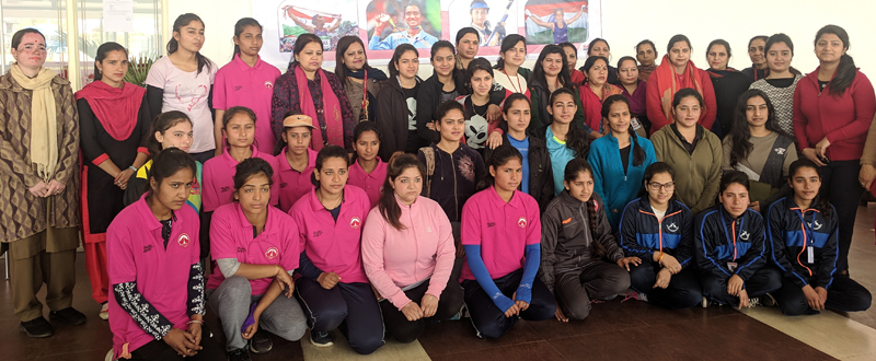 Winners of various sports events posing for a group photograph at SMVDSB Sports Complex, Katra.
