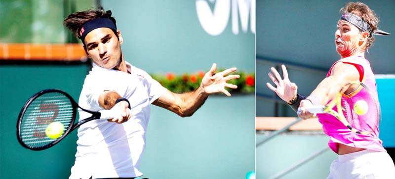 Roger Federer and Rafael Nadal in action during Indian wells at USA.