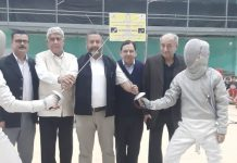 State Fencing Championship being inaugurated by the dignitaries at University of Jammu on Tuesday.
