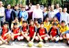 Winners posing along with dignitaries and officials during Fazil Abbas Volleyball Tournament on Saturday.