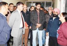 Advisor K Vijay Kumar interacting with coaches while reviewing functioning of DG YSS and Secretary JKSSC offices in Jammu.