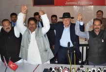 National Conference President Dr Farooq Abdullah with Congress candidates for Udhampur and Jammu Lok Sabha seats Vikramaditya Singh and Raman Bhalla at a function at Jammu on Friday. NC Provincial President Devender Singh Rana is also seen in the picture. -ExcelsiorRakesh