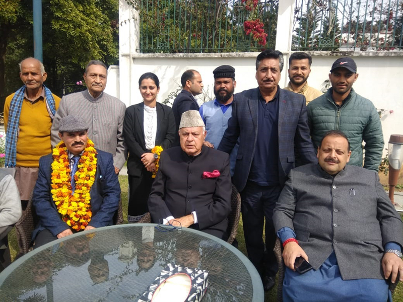 National Conference President Dr Farooq Abdullah & Provincial President Devender Singh Rana at a party meeting on Friday.