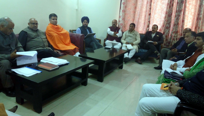 BJP national vice president Avinash Rai Khanna and other leaders at Party's Election Committee meet at Jammu on Friday.