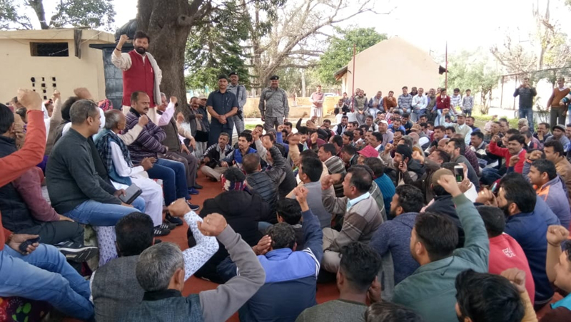 Ch Lal Singh addressing a public meeting in Kathua on Sunday.