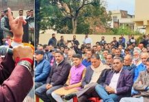 Union Minister Dr Jitendra Singh addressing BJP workers from different Mandals of district Reasi, at Katra on Wednesday. —Excelsior/Mengi