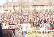 NC Vice President Omar Abdullah addressing a massive rally at Kwaja Bagh in Baramulla on Tuesday.