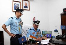 Air Commodore A S Pathania taking over as new AOC of Air Force Station Jammu from Air Commodore SK Mishra in Jammu on Wednesday.