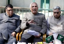 PDP leaders addresing a press conference at party headquarters in Srinagar. -Excelsior/Shakeel