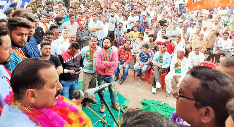 Union Minister Dr Jitendra Singh campaigning in various areas of Kathua Assembly segment, on Wednesday.