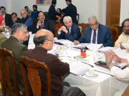 Governor S P Malik chairing meeting of Shri Mata Vaishno Devi Shrine Board on Friday.