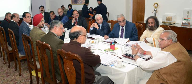 Governor S P Malik chairing meeting of Shri Mata Vaishno Devi Shrine Board on Friday.