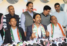PCC chief GA Mir addressing a press conference in Jammu on Tuesday. —Excelsior/Rakesh