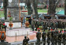 Chinar Corps Commander Lt Gen KJS Dhillon & soldiers paying homage to the martyrs on raising day in Srinagar on Wednesday.