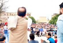 Ex-MP Ch Lal Singh addressing public meeting in Jammu.