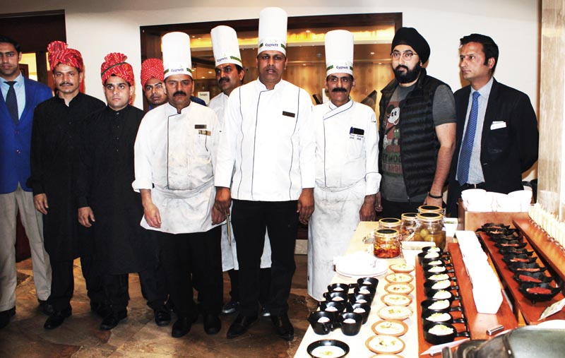 Chefs and others during 'Dasterkhan-e-Riyasat' at Cygnett Park Asia, Jammu.