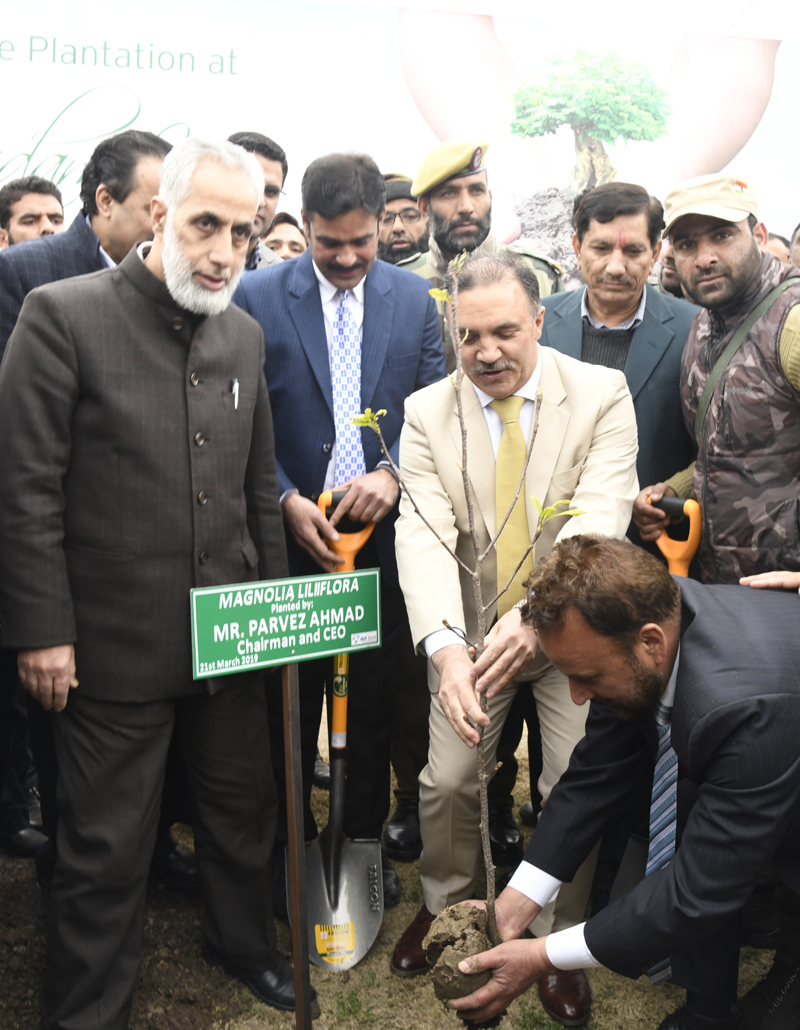 Chairman J&K Bank Parvez Ahmed planting a sapling to celebrate World Arbour Day.