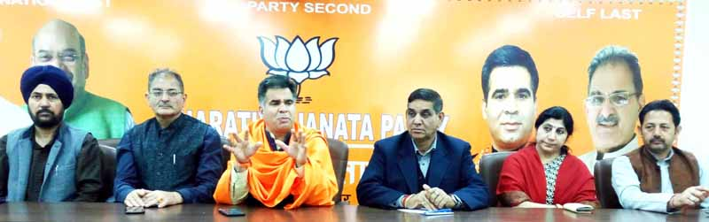BJP leaders during a meeting at Jammu on Friday.