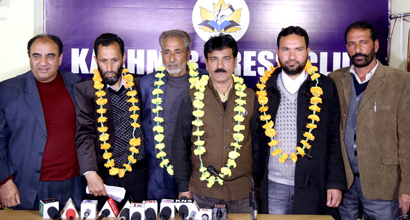 Jammu & Kashmir Awami Forum candidates posing for photograph. —Excelsior/Shakeel