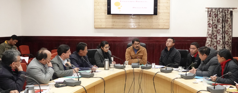Divisional Commissioner Ladakh Saugat Biswas chairing a meeting in Leh on Wednesday.