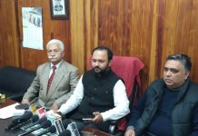 Ankur Sharma addressing press conference at Jammu on Wednesday.