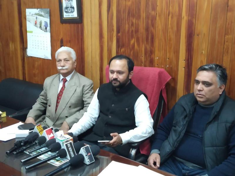 Ankur Sharma addressing press conference at Jammu on Wednesday.