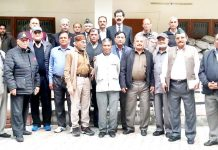 Army veterans posing after the conclusion of Governing Council meeting of JKESL at Jammu.
