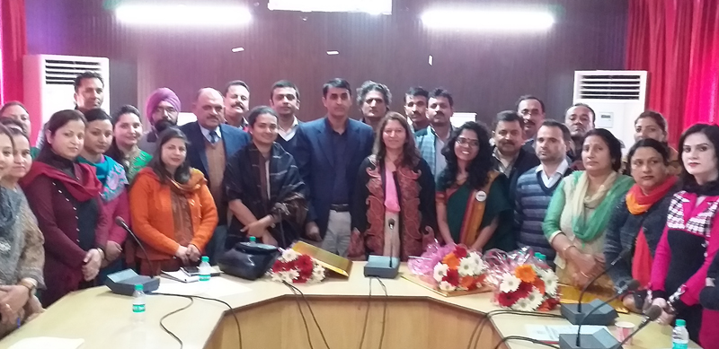 Participants and guest at a workshop by DSEJ at Jammu on Wednesday.