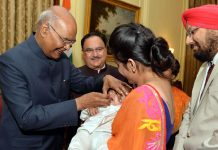President Ram Nath Kovind launching the pulse polio programme by administering polio drops to a few children at Rashtrapati Bhavan on Saturday. (UNI)