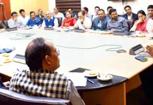 Secretary Finance Arun Kumar Mehta chairing a meeting on Friday.