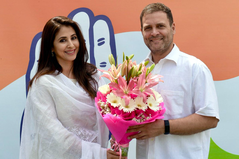 Congress President Rahul Gandhi greets Bollywood actor Urmila Matondkar as she joins Congress Party on Wednesday.