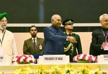 President, Ram Nath Kovind at the Swachh Survekshan Awards 2019, in New Delhi on Wednesday.