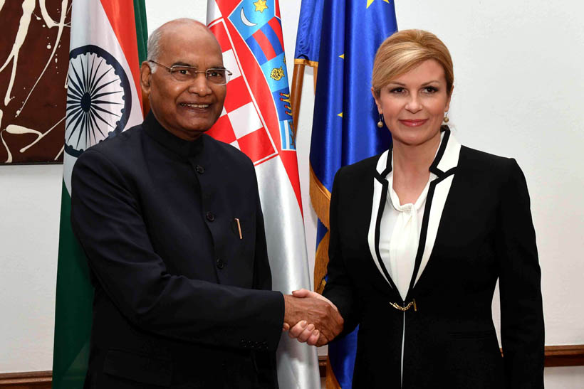President Ram Nath Kovind being received at the Croatian-Indian Economic Forum at Croatian Chamber of Economy, Zagreb in the Republic of Croatia on Wednesday. (UNI)