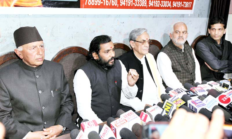 Members of Sanskrit Bharti addressing a press conference at Jammu on Friday. -Excelsior/Rakesh