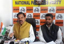 Harsh Dev Singh addressing a press conference at Jammu on Friday.