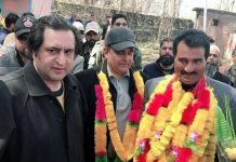 Political worker, Fazal Mehmood Baig being welcomed into Peoples Conference by its Chairman, Sajad Gani Lone and others.