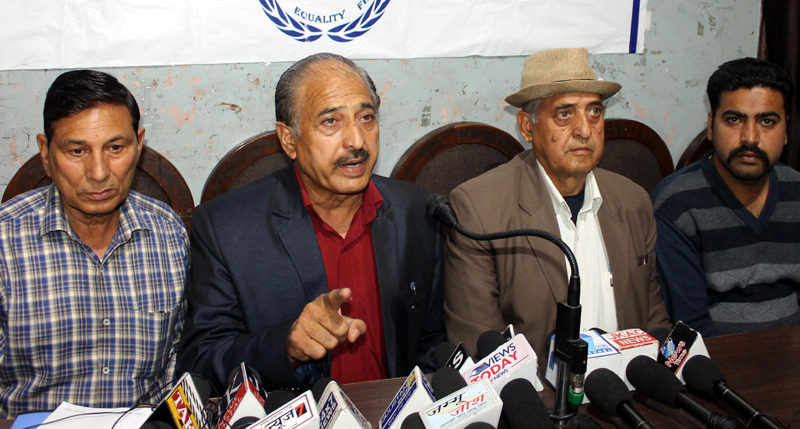 Leaders of JKRCEA addressing a press conference at Jammu on Wednesday. -Excelsior/Rakesh