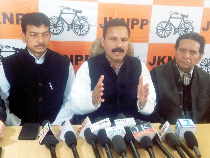 NPP president B S Mankotia addressing press conference in Jammu on Wednesday.