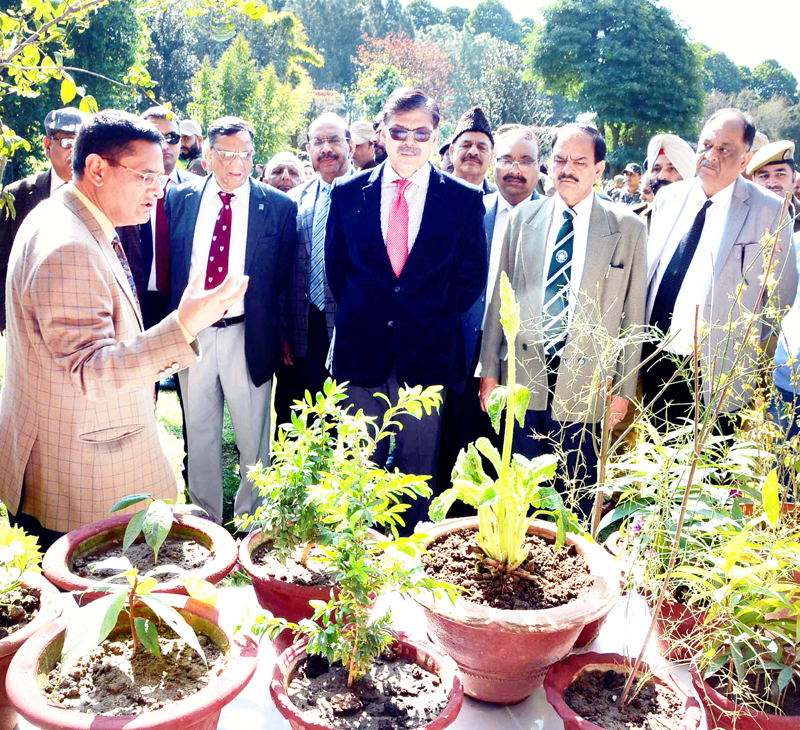 Advisor K Vijay Kumar visiting stalls during Forest Flower Festival at Jammu University on Friday.