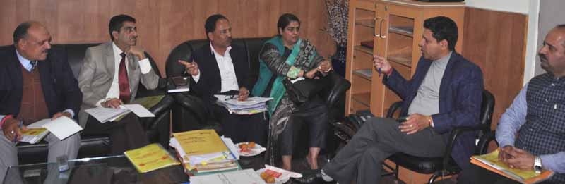 Divisioal Commissioner Sanjeev Verma reviewing Red Cross Mela arrangements at a meeting in Jammu on Wednesday.