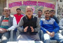 National Mazdoor Conference president, Subash Shastri addressing a workers meeting at Jammu on Sunday.
