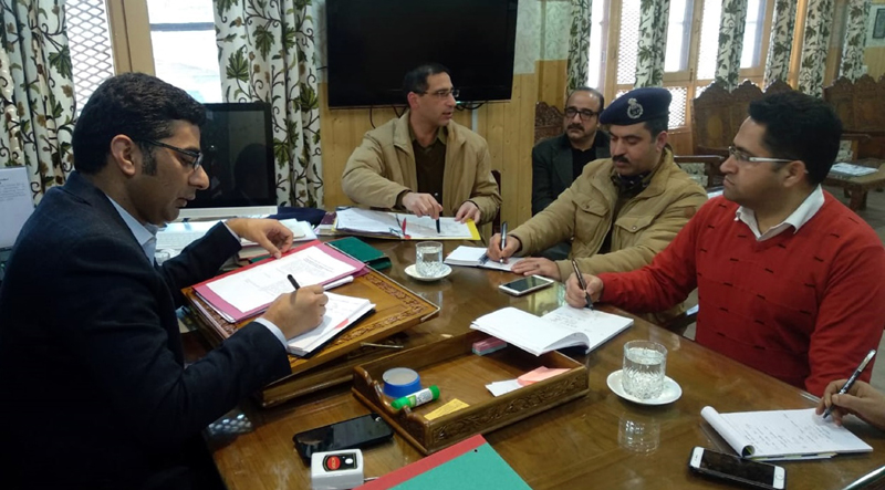 Deputy Commissioner Srinagar Dr Shahid Iqbal chairing a meeting on Wednesday.