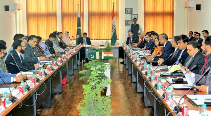 Indo-Pak officials hold talks to discuss and finalize the modalities for the Kartarpur Corridor at Attari, Amritsar.