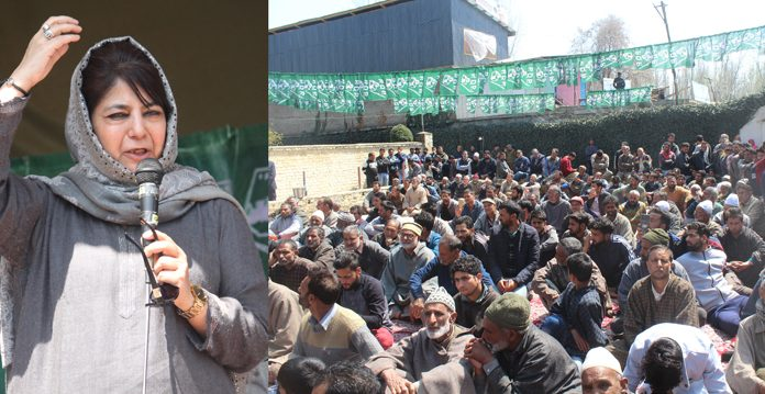 PDP president Mehbooba Mufti addressing a rally at Pattan on Sunday. —Excelsior/Aabid Nabi