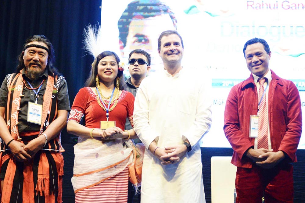 Congress President Rahul Gandhi interacting with students during Dialogue for Democracy: A Conversation at the Manipur State Film Development Society Auditorium, in Imphal on Wednesday. (UNI)