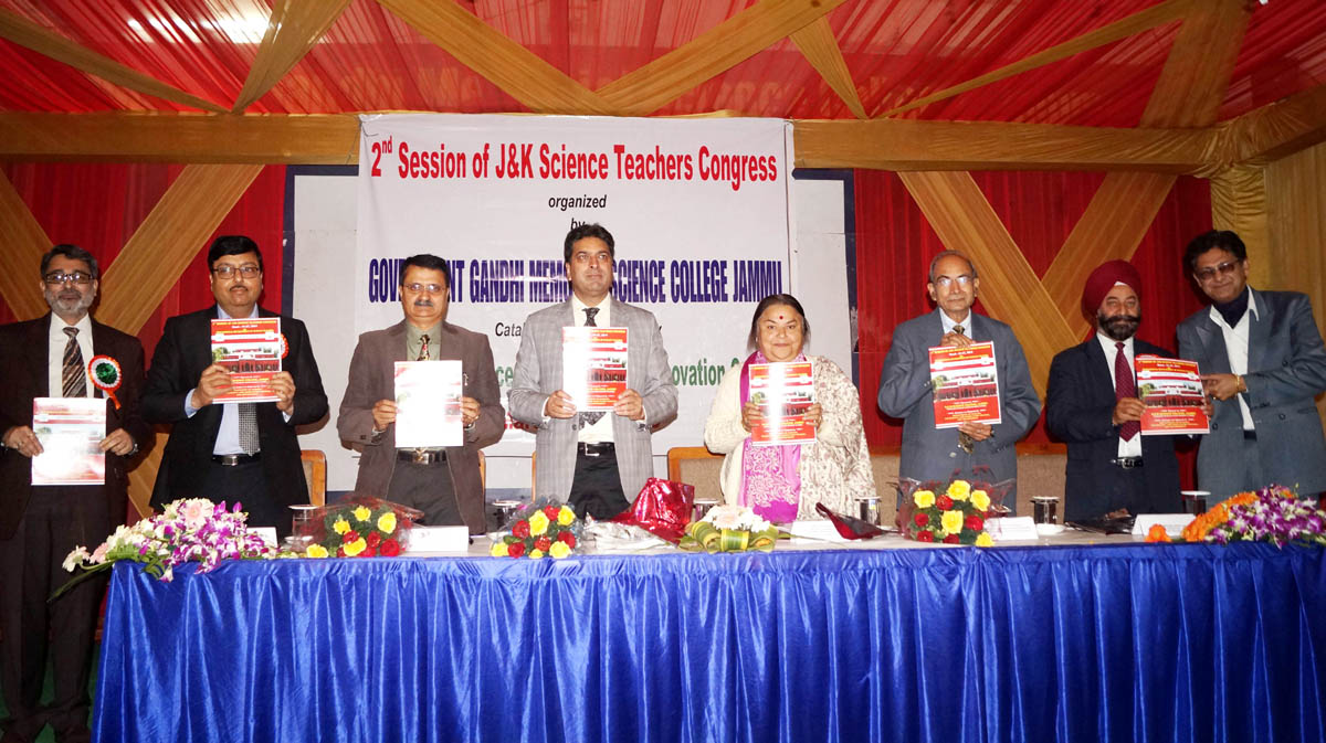 Souvenir of J&K Teachers Congress being released during inaugural session at GGM Science College on Monday.